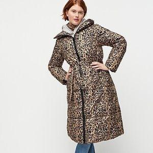 J crew primaloft belted long puffer jacket leopard